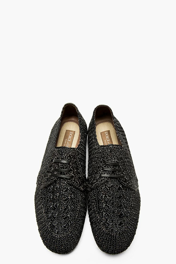 DOLCE & GABBANA Black Patterned Weave Raffia Derbys