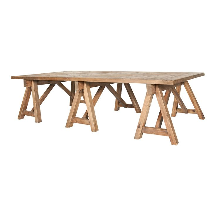 Triple trestle legs coffee table with parquet wooded patterned top - measures 180cm x 90cm x 45cm. At Trade Secret. We deliver all over Southern Africa.