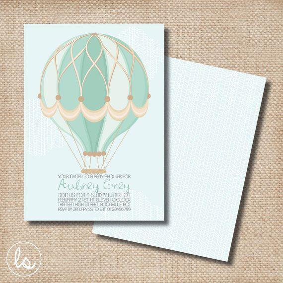 Baby Blue Hot Air Balloon Baby Shower Invitation ~ DIY PRINTABLE ~ Professional Printing