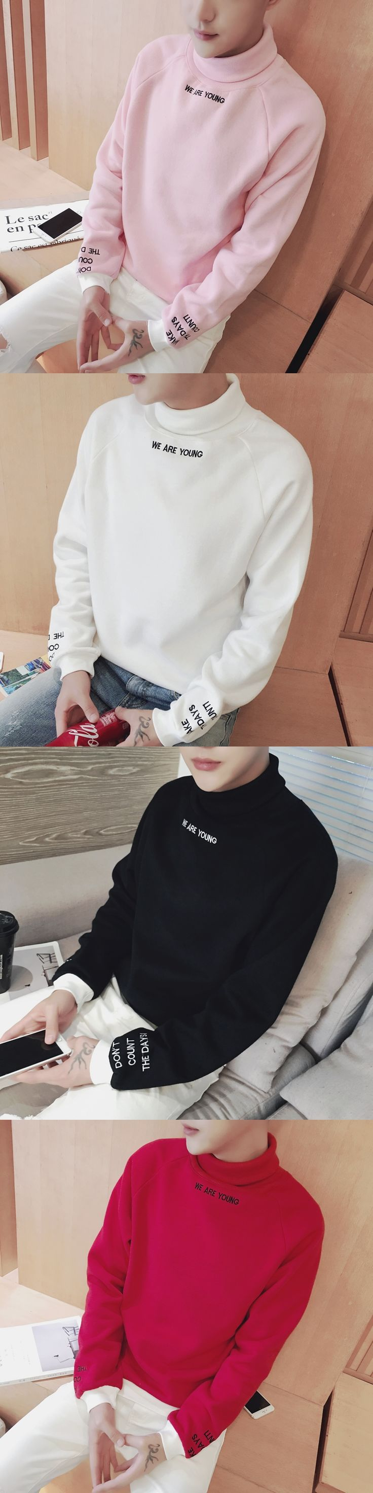 "New Fashion Irregular Design Boys Hoodies Men Turtleneck Casual Hoodie Undershirt Letter ""We are young"" Embroidery Sweatshirt"