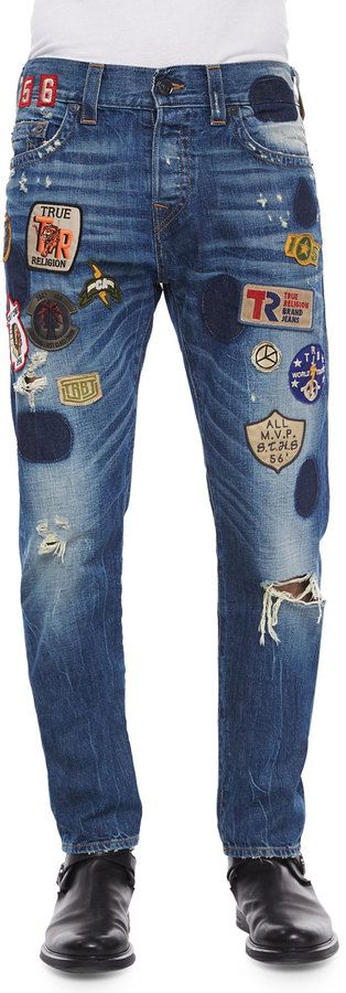 True Religion Dean Well-Traveled Patchwork Denim Jeans, Blue