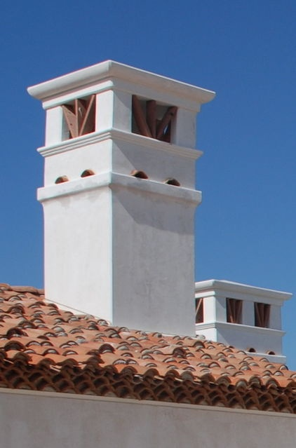 Tower-like chimneys  mediterranean exterior by Hugh Jefferson Randolph Architects: Revival Style, Colonial Revival, Hugh Jefferson, Randolph Architects, Jefferson Randolph, Spanish Colonial, Mediterranean Exterior, Architecture Details, Architecture Design