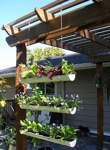 Hanging Gutter Garden http://www.handimania.com/diy/hanging-gutter-garden.html