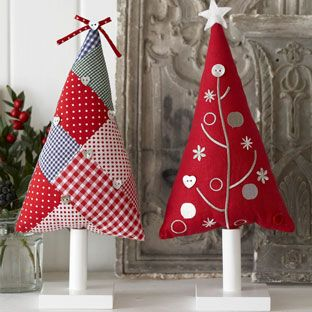 patchwork christmas trees - make as hanging tree decorations