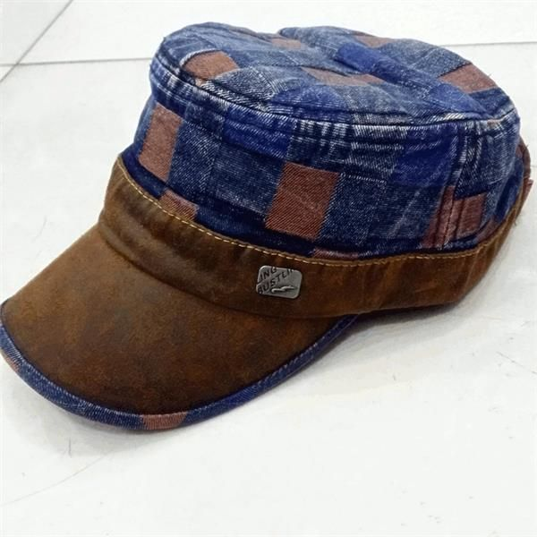 Mens Women Vintage Washed Denim Flat Cap Outdoor Casual Military Army Lattice Baseball Hat