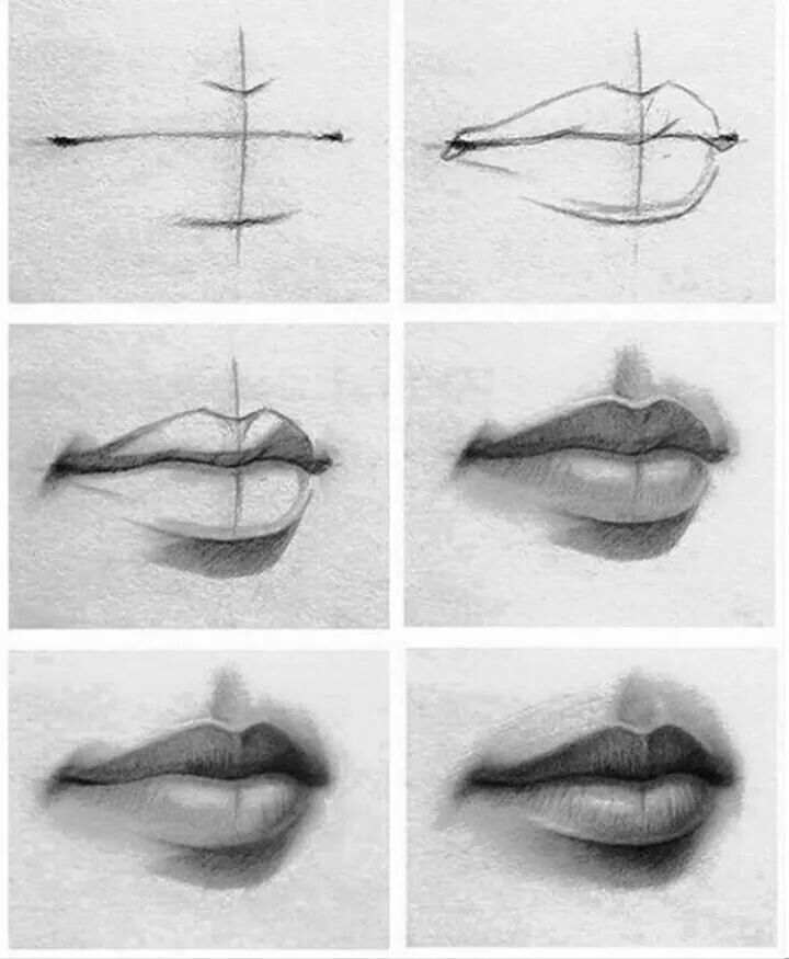 Graphite Lips step by step
