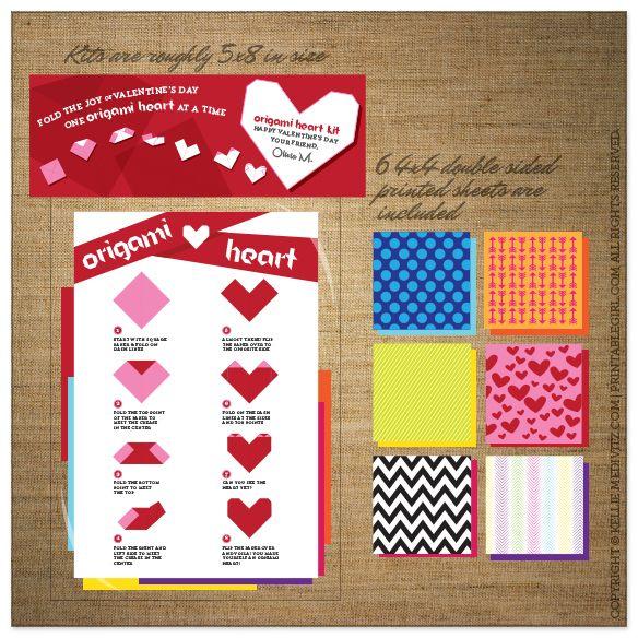 Valentine | Origami Heart Kit | PrintableGirl.com