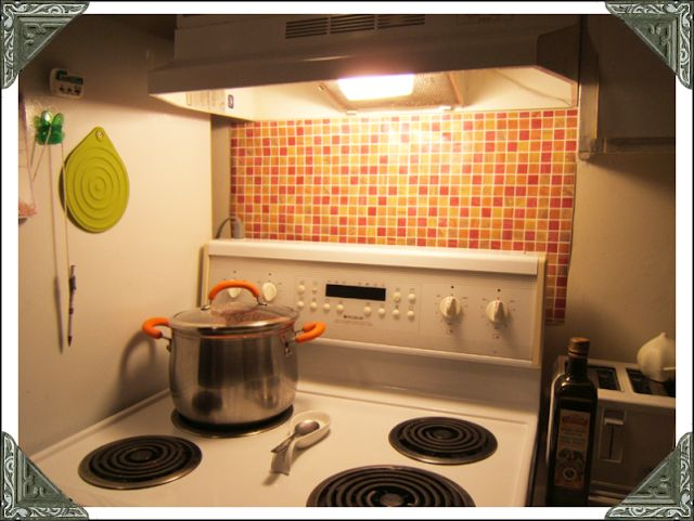 Color Me Domestic: Easy, cheap, removable backsplash solution (and ha.