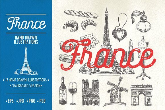 Hand drawn France illustrations. Best food illustrations for businesses like food menu, blogging, graphic design, poster. More #food #illustrations for your #brand you can download here ➝ https://creativemarket.com/graphics/illustrations?u=BarcelonaDesignShop #food #creative #download #menu #restaurant #design #graphic #drawing #cafe #vintage #print #illustration #logo #cute #vector #art #funny #poster #doodle #drawing #label #icon #france #wine #bread
