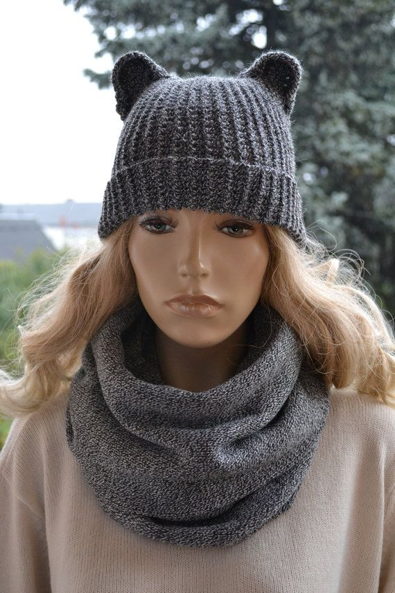Knitted  Hat & Scarf loop gray beanie scarf Set by DosiakStyle