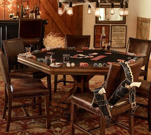 Poker Table | Pottery Barn - I like the table AND chairs...but the staging with the studded gun holster is a bit much!!