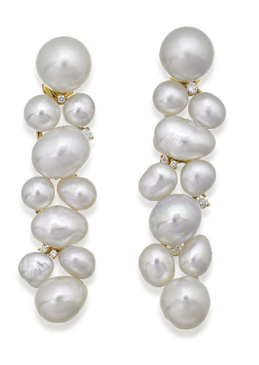 Sourth Sea Pearl and Diamond Earrings, Paspaley.