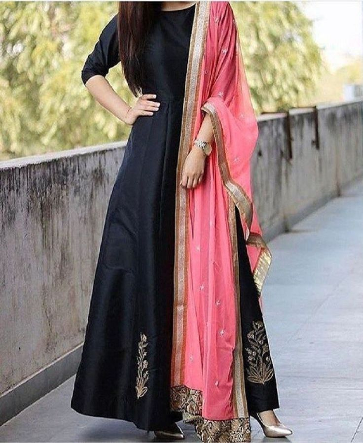 Black Taffeta Silk Long Anarkali Embroidery Salwar Suit