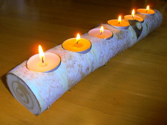 Wooden Candle Holder for 6 tea lights  13.4x2 by Iwanitu on Etsy, €25.00