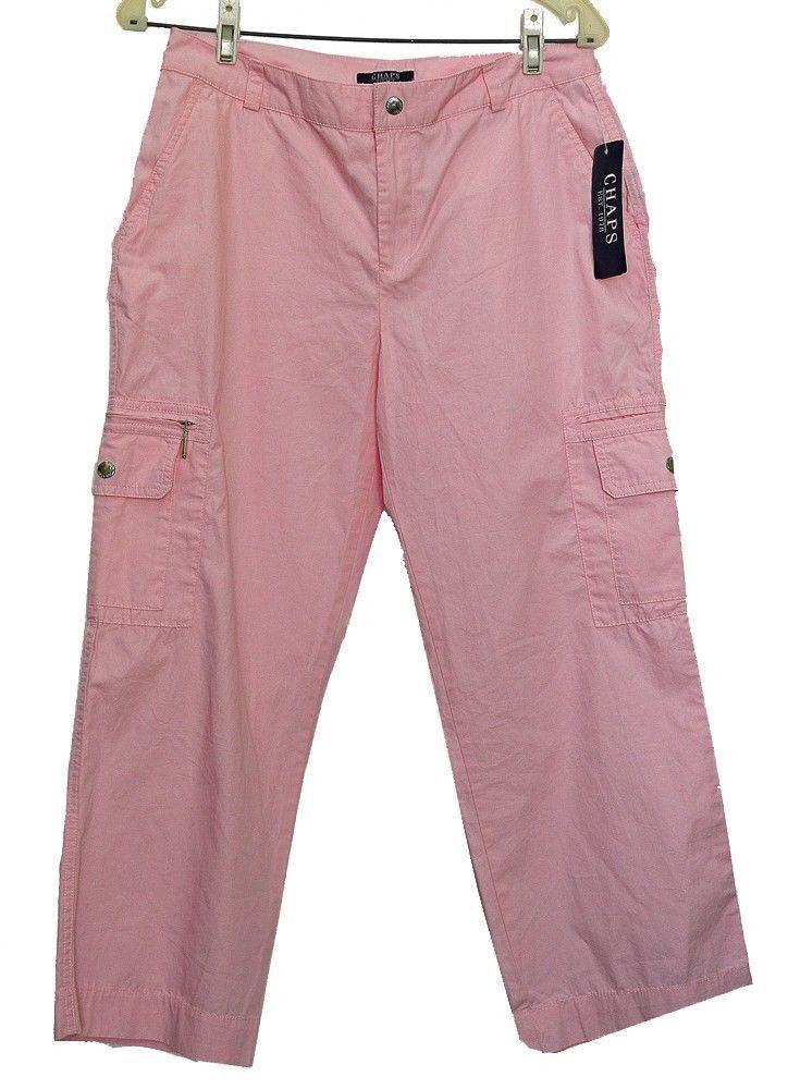 Ralph Lauren Chaps Ladies Cargo Pants Lady Pink Palm Beach Size 6 NWT  #Chaps #Cargo