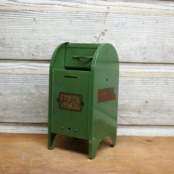 Vintage Miniature Mailbox Piggy Bank By Auroramills On