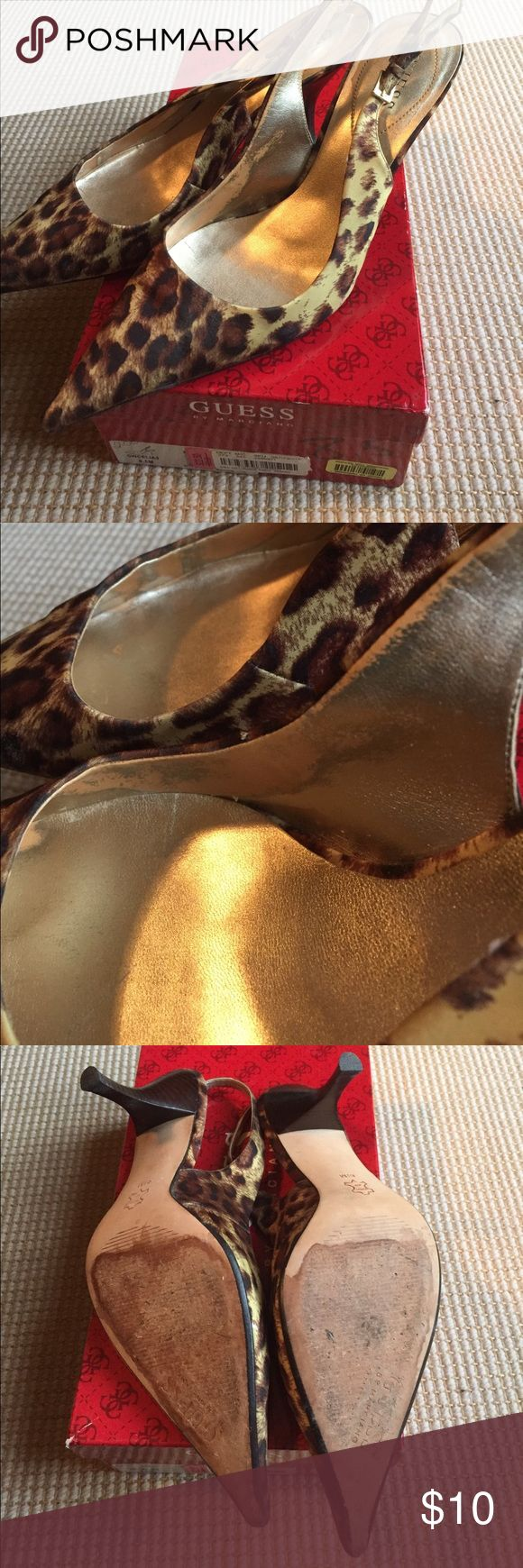 Guess Cheetah Heels, 8.5M Good used condition, wear shown in photos Guess by Marciano Shoes Heels