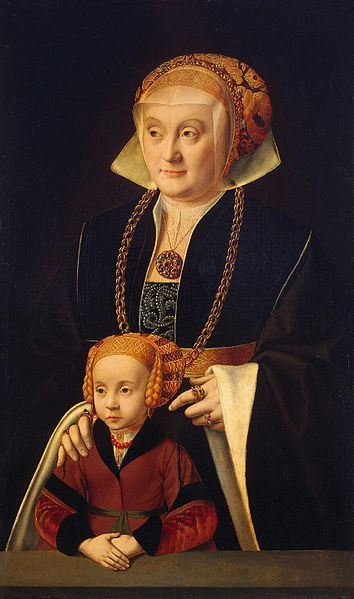 Portrait of a Lady with her daughter by Bartholomäus Bruyn the Elder,1530-45