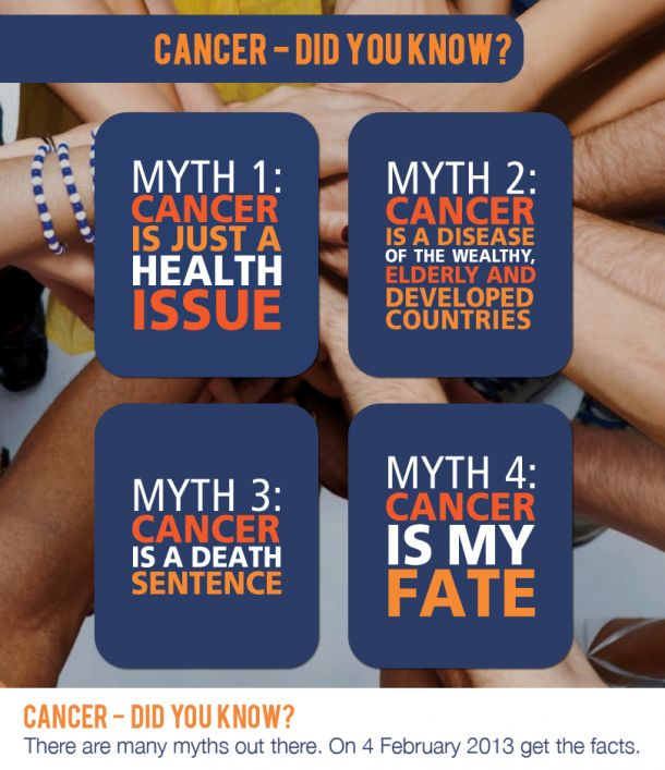 There are many myths out there. On February 4, 2013 get the fact about cancer. Check out the official World Cancer Day site from UICC.
