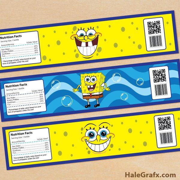 spongebob bottle labels1 FREE Printable Spongebob Squarepants Water Bottle Labels