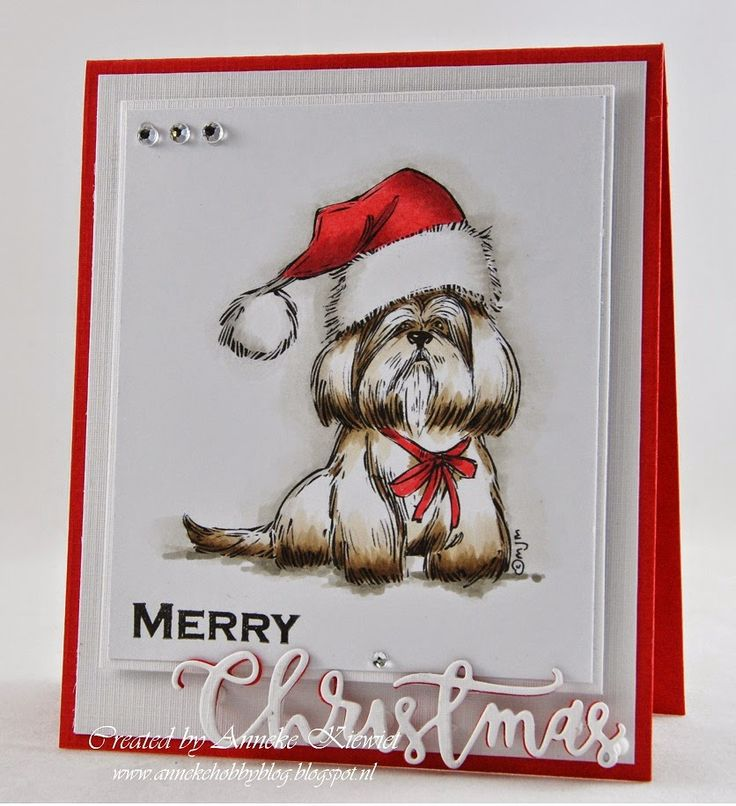 Hello Mo fans,Today I show you a Christmascard with the lovely image, Lhasa Apso with Santa Hat.For more details visit my blog, please.   Thanks for stopping.Merry Christmas to all of you! Anneke xx