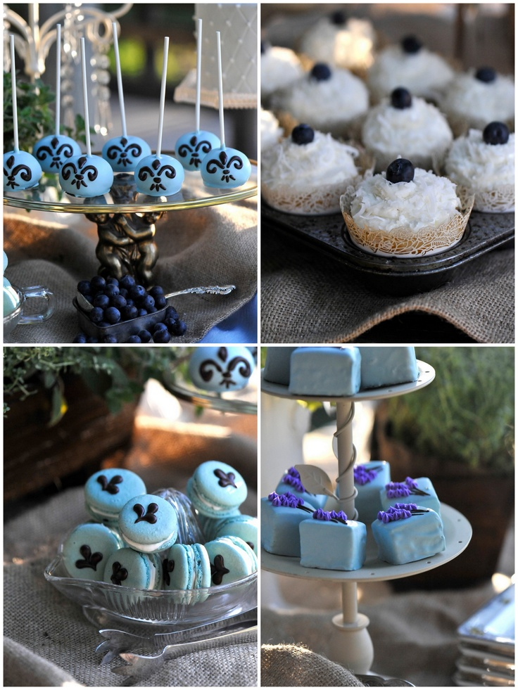 Blue Dessert Display Coconut Sprinkled Frosting On The Cupcakes