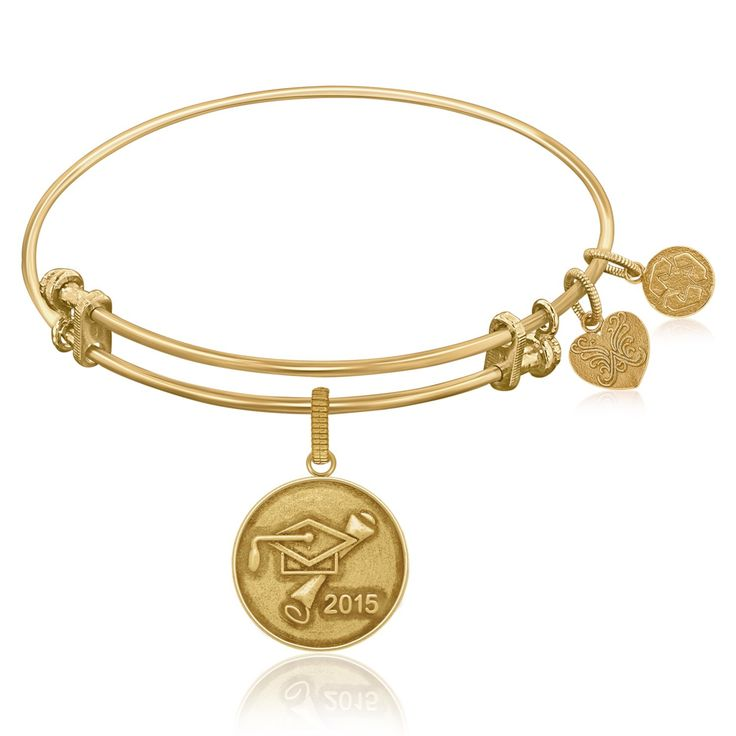 Expandable Bangle in Yellow Tone Brass with Class Of 2015 Graduation Cap Symbol