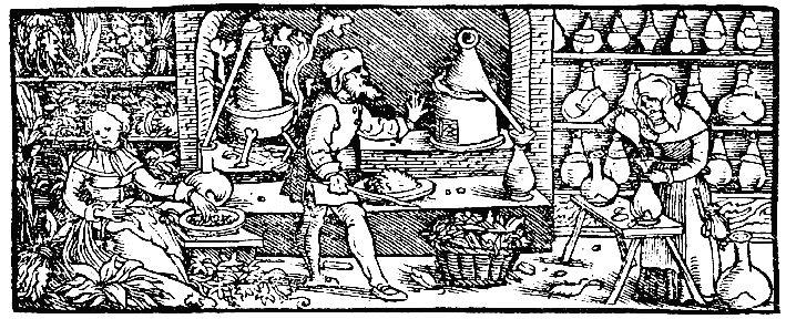 Herstellung von Alkohol und Kräuteressenzen im 16. Jahrhundert
