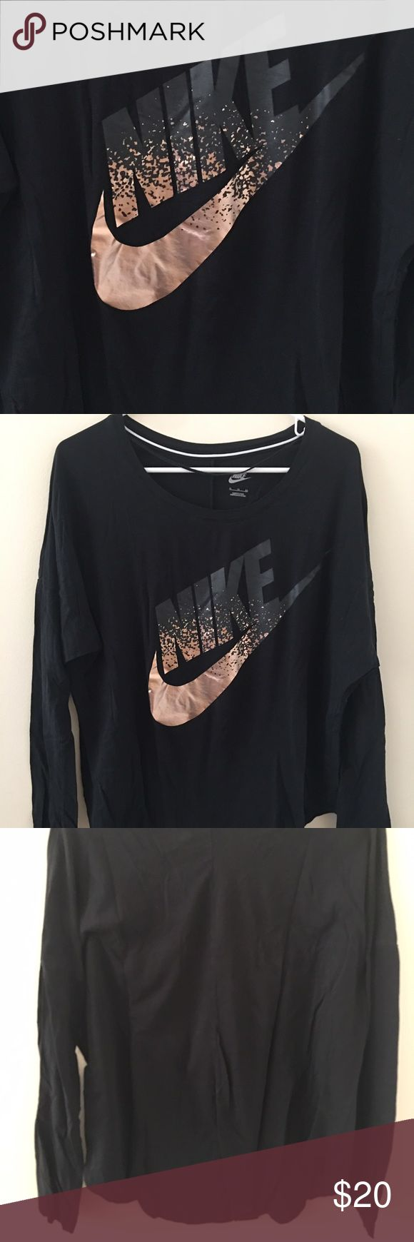 Rose Gold Nike long sleeve shirt size XL Wore a 1 time and washed it needs ironed smoke free home any question please ask Nike Tops Tees - Long Sleeve