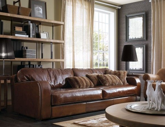 Italian Sofa Fully Upholstered In Brown Leather: A Wide Selection Of Italian  Fabrics And Leathers