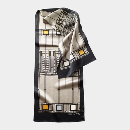 Frank Lloyd Wright Tree of Life 100% silk scarf is a perfectly light weight for spring. This design was adapted from one of 9 primary patterns he created for the Darwin D. Martin House in Buffalo, NY. Available at the Shop at AGH #shopatagh #hamont
