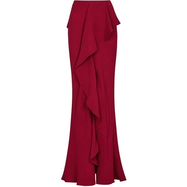 Womens Maxi Skirts Alexander McQueen Red Ruffled Silk Crepe Maxi Skirt (11.740 RON) ❤ liked on Polyvore featuring skirts, ruffle skirt, long skirts, alexander mcqueen, long ruffle skirt and frilly skirt