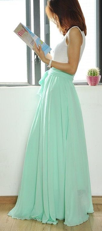 High Waist Maxi Chiffon Skirt w/ Bow Tie