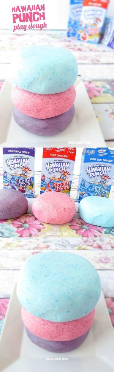 Hawaiian Punch EDIBLE play dough! A super soft, squishy, and yummy smelling DIY edible play dough recipe.