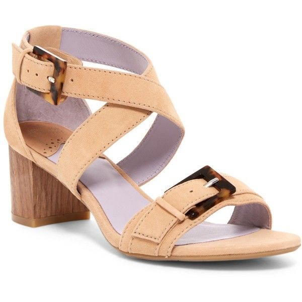 Johnston & Murphy Katarina Ankle Strap Sandal ($80) ❤ liked on Polyvore featuring shoes, sandals, cafe, buckle sandals, criss cross sandals, buckle strap sandals, ankle wrap shoes and chunky block heel sandals