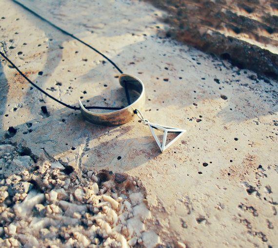 Pendant necklace geometric pendant triangle silver by ArtikaShop