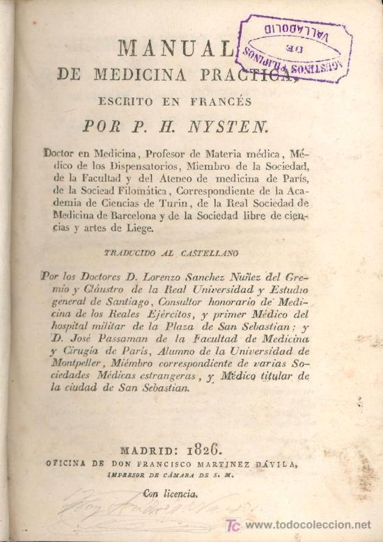 MANUAL DE MEDICINA PRACTICA - POR P.H. NYSTEN - MADRID - 1826 estalcon@gmail.com