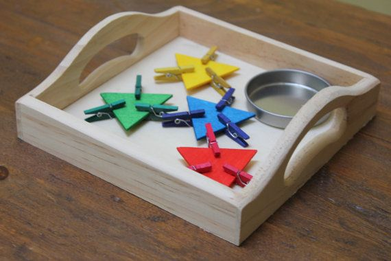 Montessori Tray Clothespin Color Sorting Work by NaturaBaby
