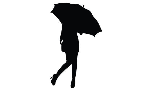 Girl With Umbrella Silhouette Vector - Silhouette Clip Art