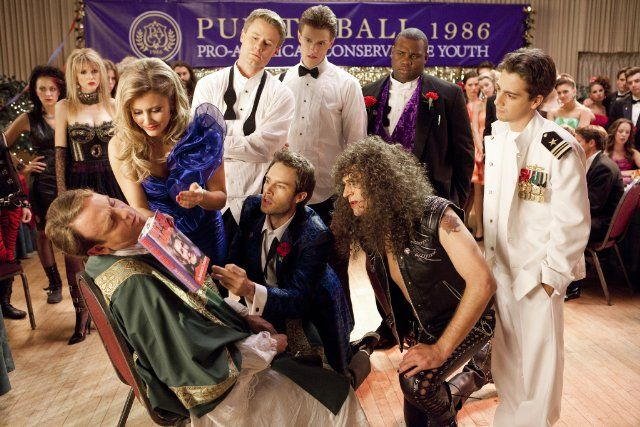 Still of John Michael Higgins, Eric Nenninger, Julianna Guill, Callard Harris, James Earl, Matt Bush and Hartley Sawyer in Glory Daze (2010)