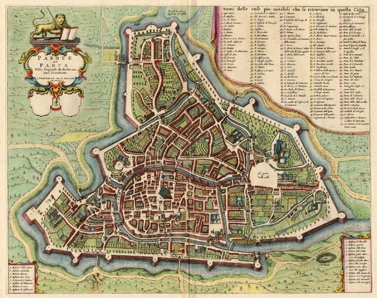 Old, antique map of Padova by Blaeu - Mortier | Sanderus Antique Maps