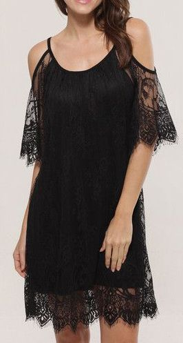 Lace Cutout Shoulder Dress- With Lace Cut out at Shoulders