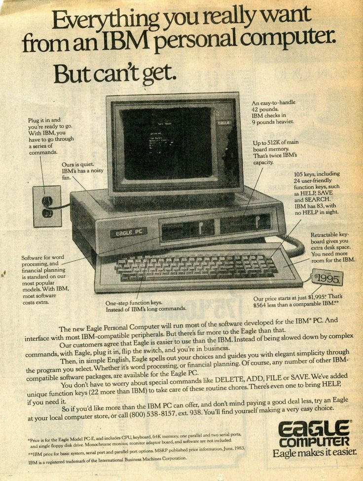 """Vintage 1983 Ad Eagle Computer """"Everything You Really Want from An IBM PC"""