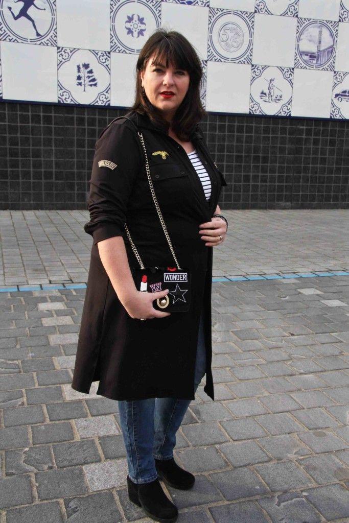 Gets Fashion, wondervol, grote maten, long blouse, zwart, tasje met patches