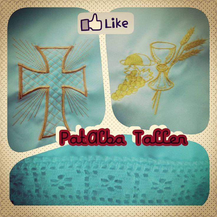 Entregados manteles con bordados religiosos y bolillo en orillas 👌⛪ #patalbataller #emprendedora #artesana #bordados #confeccionapedido
