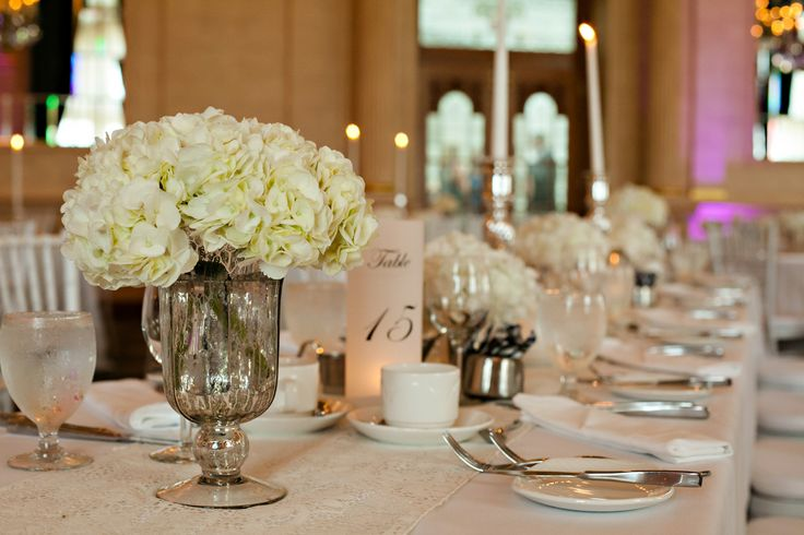 The Fort Garry Hotel : White hydrangea in mercury glass vase  Real wedding by Divine Weddings & Events : Szandra and Lawrence : Photo by Moore Photography