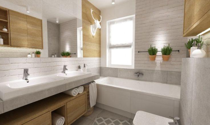 Aranżacja łazienki bazuje na skandynawskim klimacie, głównie poprzez zastosowanie bieli i drewna, a także takich...
