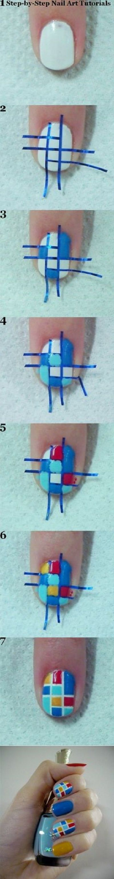 Bonitas uñas con cuadrados de colores - http://xn--decorandouas-jhb.com/bonitas-unas-con-cuadrados-de-colores/