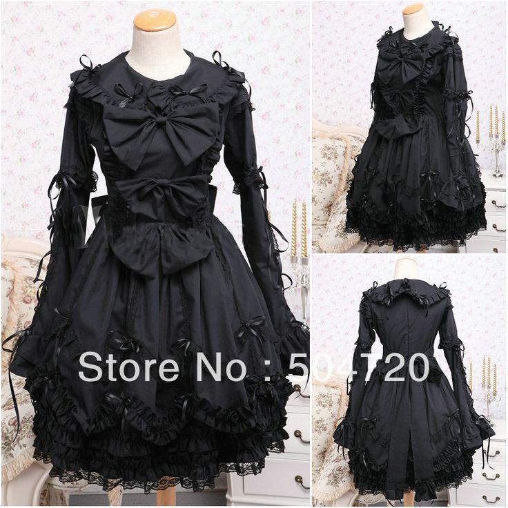 V-1039 Schwarz langarm Gothic Lolita Kleid/viktorianischen kleid Cocktailkleid/halloween-kostüm US6-26 XS-6XL //Price: $US $71.25 & FREE Shipping //     #cocktailkleider
