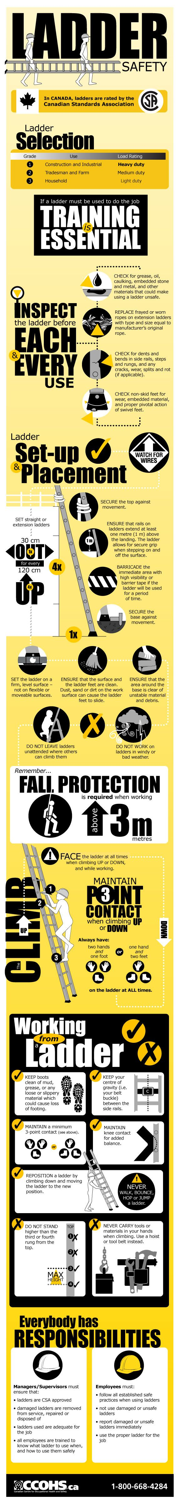 Infographic: Steps of Ladder Safety  For more information, visit: http://www.ccohs.ca/oshanswers/safety_haz/ladders/